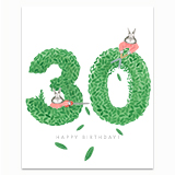 Happy Birthday Topiary 30 Greeting Card