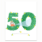 Happy Birthday Topiary 50 Greeting Card